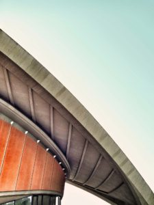 an arched building roof