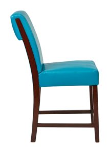 a blue chair with brown wooden legs