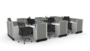 several interconnected low wall cubicles