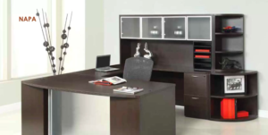 a self contained work space sitting within an office