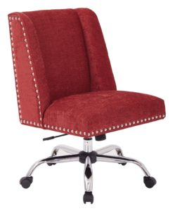 a height-adjustable wheeled red chair
